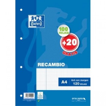 RECAMBIO A4 100HJ + 20 GRATIS CUADRO 4MM MRG AZUL 4T OXFORD