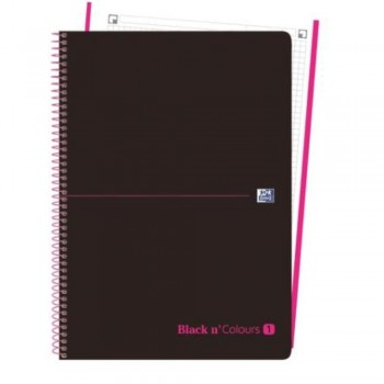CUADERNO MICROPERFORADO EBOOK 1 MICROP A4+ 80H C/5 T.PLASTICO NG BLACK'N COLORS ROSA OXFORD