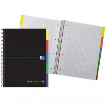 CUADERNO MICROPERFORADO EBOOK 5 A4+ 100HJ C/5 T.EXTRADURA 5 PESTAÑAS NG BLACK'N COLORS VERDE OXFORD