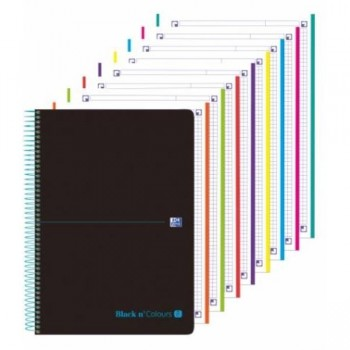 CUADERNO MICROPERFORADO EBOOK 8 A4+ 160H C/5 T.PLASTICO NG BLACK'N COLORS TURQUESA OXFORD