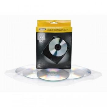 SOBRES PLASTICO CDS TRANSPARENTES PACK DE 100 FELLOWES