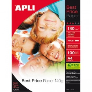 PAPEL A4 140GR 100HJ FOTOGRAFICO INKJET APLI BEST PRICE GLOSSY APLI