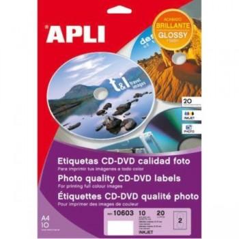 ETIQUETAS CD/DVD REMOVIBLE BLANCA 114  MATE 25H. 50U APLI