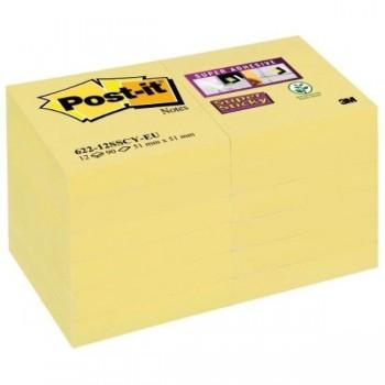 NOTAS ADHESIVAS POST-IT  SUPERSTICKY AMARILLO 12 BLOCS 90H 47,6x47,6MM (70005258978)