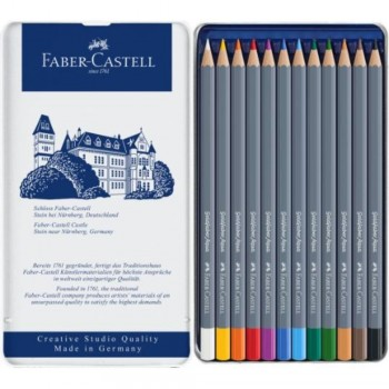 ESTUCHE DE METAL CON 12 LÁPICES GOLDFABER AQUARELABLES