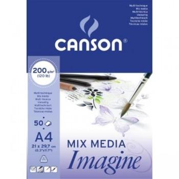 BLOC DIBUJO ENCOLADO A4 50H CANSON IMAGINE FINO 200G