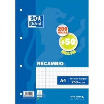 RECAMBIO A4 200H+50H GRATIS 4MM MRG AZUL OXFORD