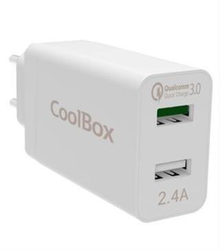 CARGADOR DE PARED 2XUSB COOLBOX QUALCOMM 3.0 BLANCO
